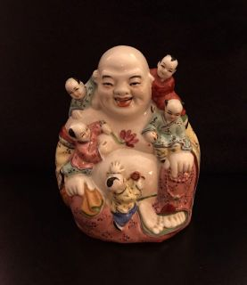 Antique Porcelain Laughing Buddha With Children