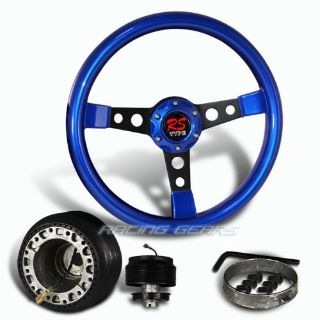 Buy For Mitsubishi 350mm 6 Hole Blue Wood Black Spoke Steering Wheel + Hub Combo Kit motorcycle in Walnut, California, United States