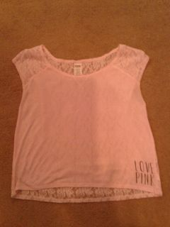 VS Love Pink super cute light weight top with lace on the back light pink size M $8