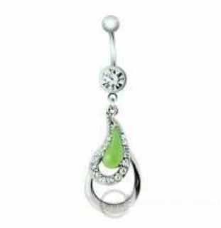 Green epoxy dangle belly ring