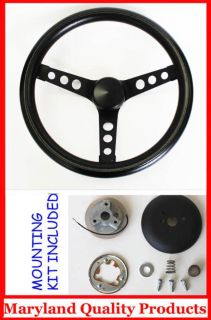 "Purchase Nissan Datsun Grant Black Steering Wheel 13 1/2"" black spokes 13.5"" motorcycle in Severn, Maryland, US, for US $79.95"