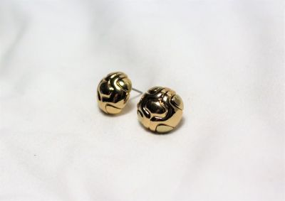 Gold Tone Round Ball Engraved Design Earrings Post Stud