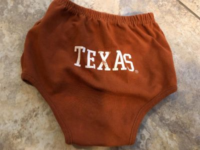 University Of Texas Longhorns Diaper Cover- Onesie Cover. Perfect Condition. Size 3 Months