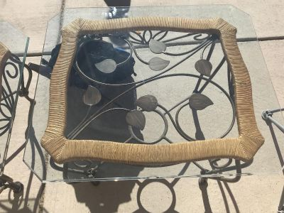 Glass top coffee table & side table