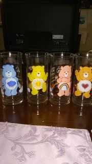 Set of 4 vintage Care Bear glasses from 1983