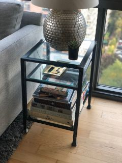 Metal & Glass End Table