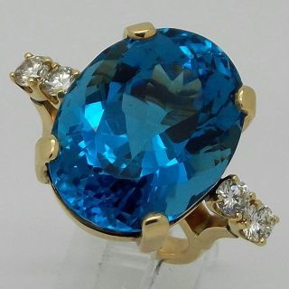 $1,299, 14K Yellow Gold HUGE London Blue Topaz  Diamond Cocktail Ring