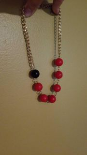 Red and black ball necklace