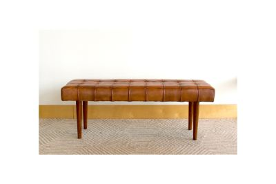 Mid Century Modern Banten Leather Bench