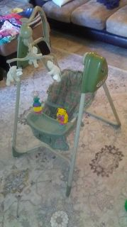 Graco swing. 30 obo Multiple speeds. Music. Rattles/ toys. Machine washable seat cover
