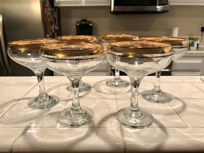 Gold Trimmed Dessert Glasses