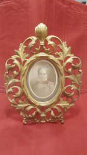 Antique Brass over Cast Iron Vintage Picture Frame with Vintage Photo!