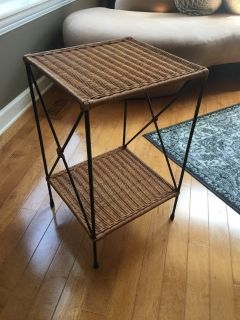 Wicker and metal side table