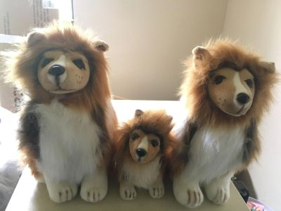 Stuffed Animal Dog Family 2 Lg Stuffed Very Nice Collie Dogs In Excellent. Condition 10 tall by 7 wide