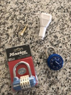 New locks (codes insides package) and usb phone thing for car and 2 microphone things