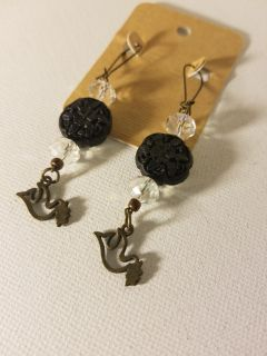 Earrings with dove charms
