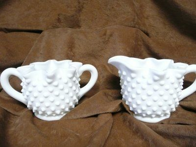 Vintage White Hobnail Glass Creamer & Sugar-reduced