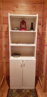 Whitw wood Cabinet shelf storage