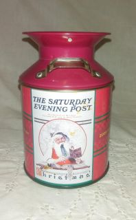 Red Saturday Evening Post Collectors Edition Christmas Tin Milk Can - 2005