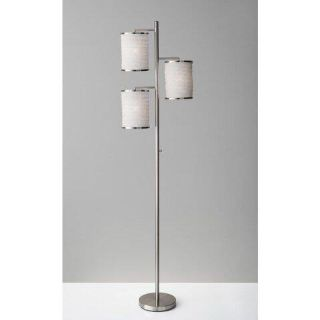 Industrial Modern 3-Light Floor Lamp with 2- Light Settings & Smart Outlet Compatibility