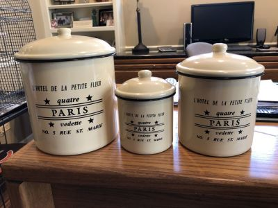 Set of 3 Metal French Canisters
