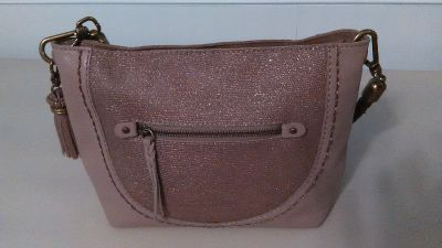 """""""The Sak"""" Leather Purse Rose Pink with Brown Braided Handle"""