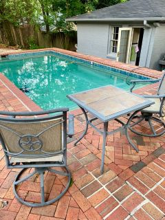 3pc Outdoor Patio Furniture Set w swivel chairs and tile table