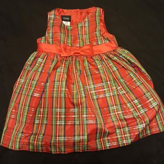 Beautiful plaid dress with gold red and green for 18 month baby
