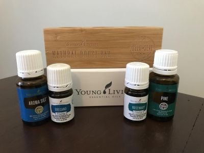 Young Living oil stand (holds 3 oils) and oils