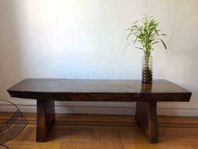 Modern rough hewn solid wood bench or coffee table