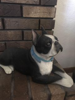 9-1/2 x 15 Heavy Stone Boston Terrier excellent condition except ear was broken and glued back just needs touch up paint.