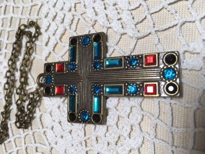 Cross Necklace Antique Bronze Colored Crystals Large