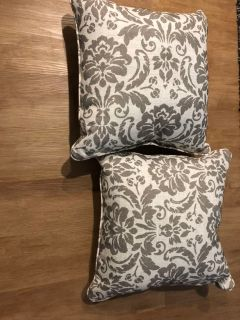 Two BRAND NEW! Dark grey and white decorative pillows. Large. $10 firm - a steal.