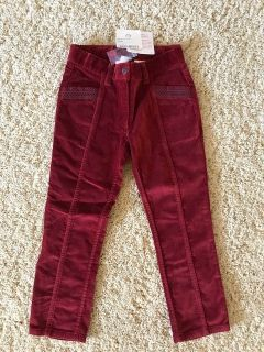 NWT Size 5 (120) Hanna Andersson Velveteen Cranberry Red Velour Soft Pants