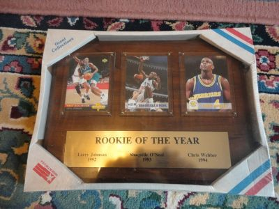 '92-93-94 NBA ROOKIE OF THE YEAR CARD & PLAQUE JOHNSON, SHAQ, WEBBER B162