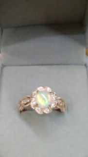 Australian opal in vintage setting with white sapphire ring sz 8