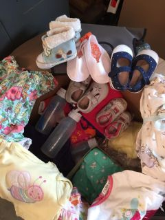 Big Box of Baby Girls clothes, Shoes, Bottles, crib sheets & more - Size 0-18 Months