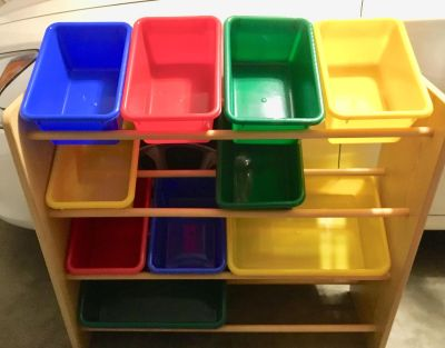 Wood storage rack with 10 bins. Great condition, multiple uses!