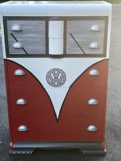 VW hand painted dresser or toy chest.