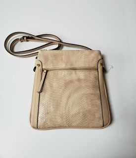 NEW CROSSBODY PURSE HANDBAG * 3 COMPARTMENT * 2 OUTER ZIPPERED POCKETS * oatmeal