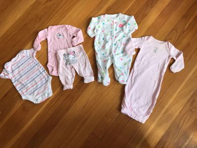Carter s NB Lot. EUC. Onsie is 0-3 mos and is Faded Glory.