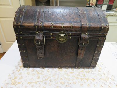 "Adorable Leather Tooled ""Treasure Chest"""