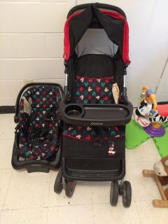 Mickey Mouse stroller and car seat set gently used