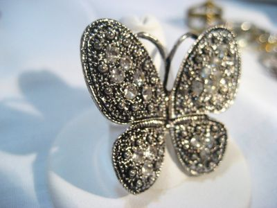 Antiqued Silver Tone Crystal Butterfly Gem Stone Adjustable Ring Band Statement
