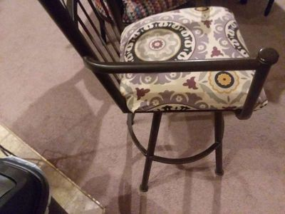 3 Wrought Iron Brown 44-Inch Swivel Bar Stools w/Arms