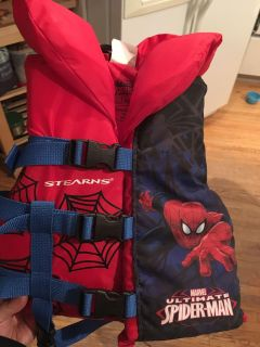 Stearns Spider-Man Life Vest. New Condition. We had 2 so this one was maybe used once. 30-60lbs. $25