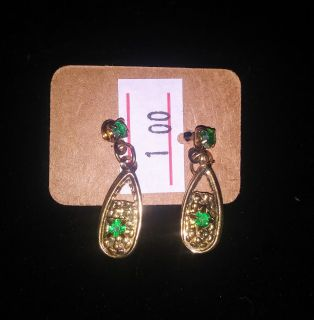 Green and Gold Fashion Jewelry Earrings