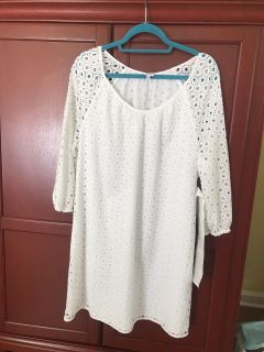 Crown and Ivy - White Eyelet Dress, NWT