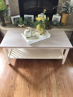 Distressed 2 Tone Cream and Beige Coffee Table