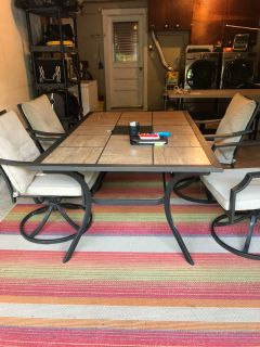 Patio set and rug